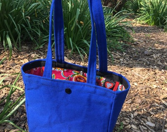 Canvas and Floral Oil Cloth Lined Mini Tote Bag, Linda Bag