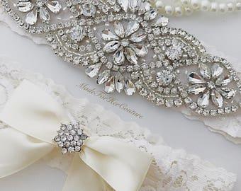 Ivory wedding garter, ivory bridal garter, ivory bridal garter belt, crystal garter belt, crystal garter set, rhinestone garter