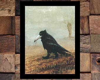 Crow in Boots WITH BORDER Comical Animal Ad, Funny Animal Art, Bird Art, Bird in Boots, Vintage Art, Giclee Art Print, fine Art Reproduction