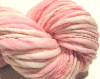 Handspun Yarn Almost Solid Pink 108 yards hand dyed merino wool waldorf doll hair knitting supplies