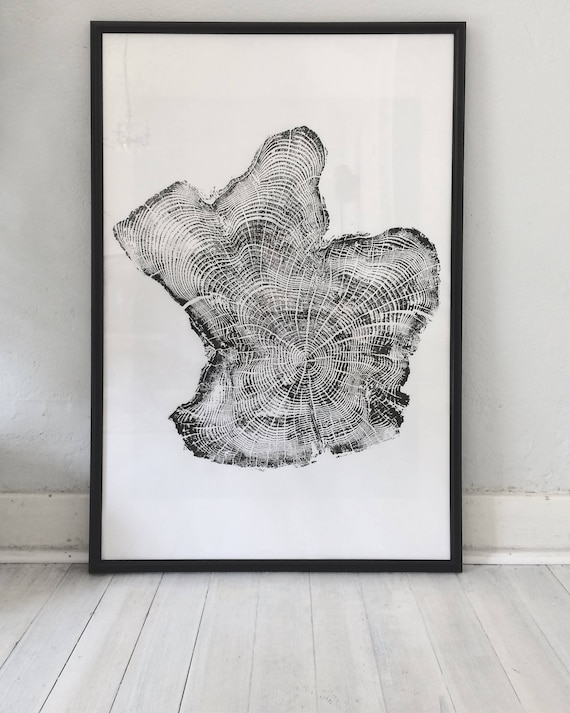 Oregon Coast Tree ring print, Tillamook Oregon, Tree ring print, Woodcut print, real tree art, Tree ring, Best Dad Gifts, Fathers Day art