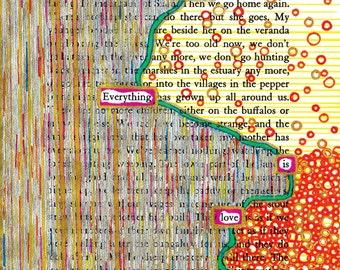 Veranda PRINT, found text, Love Redacted, letter size