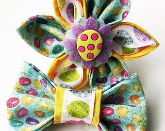Easter Egg Flower or Bow Tie for Dog or Cat Collar