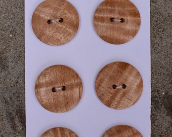 Tiger striped Maple wood buttons, set of 6