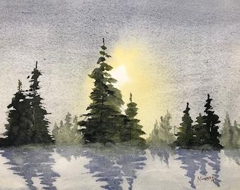 Winter Pines Original Watercolor Painting: wall decor gift idea personal office art birthday gift house warming gift WestokArt
