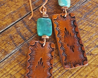 Hand Tooled Leather Earrings  - Turquoise - Copper - Western Jewelry - Cowgirl Jewelry - Leather Earrings by Heart of Cowgirl
