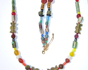 African trade bead Boho necklace with Mali wedding bead pendant