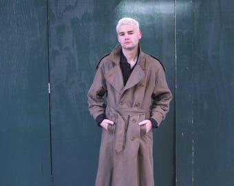 Olive Burberry Trench Coat | Vintage Full Length Coat | Burberry | Mens Size L | 80s Rain Coat | Belted Overcoat |