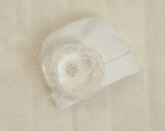 White Infant Baby Girl Beanie Hat with Feather Chiffon Flower