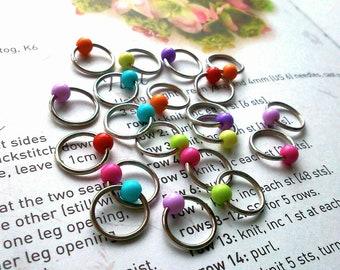 20 Knitting stitch marker rainbow rings