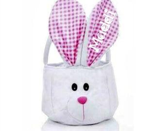 Girls Easter Basket, Personalized Easter Basket, Easter Basket for Baby Girl, Toddler Easter Basket, Bunny Easter Basket, Pink and Blue Avai
