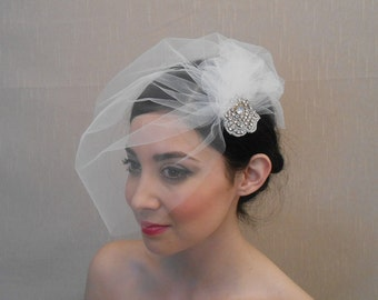 Tulle side birdcage veil with pouf and rhinestone applique flower on alligator clip - Ready to ship in 3-5 Business Days