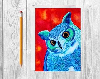 Owl Greeting Card Watercolor Card Bird Notecard Owl Thank You Owl Stationery Bird Painting Colorful Card Blank Greeting Card Owl Card