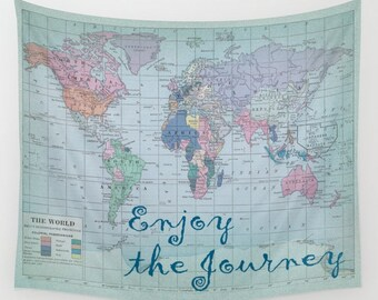 World Map Wall Tapestry - dorm room decor-   Enjoy the Journey wall decor college dorm room