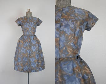 1950's Blue and Brown Silk Party Dress / Size Small