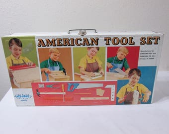 Metal Toy Tool Box with Carpenter Tools for Big Boys