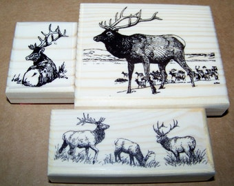 Lot of 3 Brand New Mounted Rubber Stamps - ELK