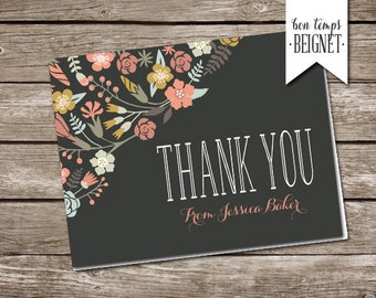 Thank You Card - Pressed Flowers - Personalize with Name - Custom Stationary