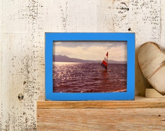 "5x7"" Picture Frame in PeeWee Style with Vintage Cobalt Blue Finish IN STOCK - Same Day Shipping - Gallery Frame 5 x 7 Rustic Blue"