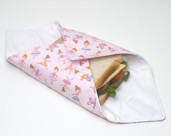 Reusable Sandwich Wrap, Lunch Wrap, Ballet / Ballerina kids design, Waterproof, Eco Friendly, Waste Free