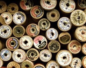 One Dozen Old Wooden Thread Spools