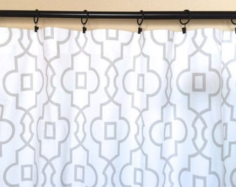 """20% OFF French Grey Bordeaux Trellis Curtain Panels. Read to Ship Window Drapes. 25""""W x 84""""L with Standard Lining. Geometric Curtains"""