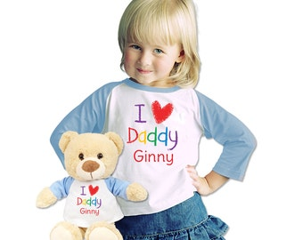 Personalized  Shirt With Matching  Plush Bear and Custom I Love Daddy T Shirt
