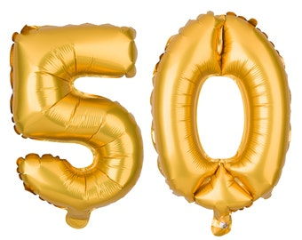 50 Number Balloons, 50th Birthday Party Balloons, 50 Balloon Numbers, 50 Party Supplies, 50th Birthday Decorations, Decor, 40 Inch Gold