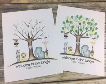 Jungle fingerprint tree | jungle safari baby shower | custom guestbook | jungle baby shower | safari baby shower | thumbprint tree