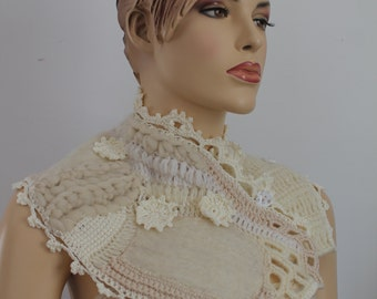 Unique Ivory White Nuno Felted Crochet Boho Chic Scarf Capelet  Neckwarmer -Textured Scarf  - Freeform Crochet -Wearable Art - OOAK