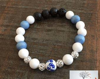 """Natural Stone Bracelet """" Harmonizing the Body and Mind"""" (White Jade, Lava Rock)"""