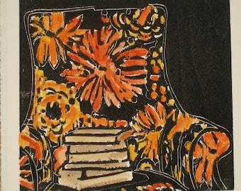 Bookish Chair - Original woodblock print