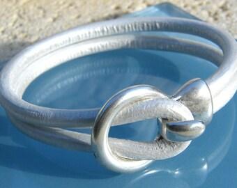 White Pearlized Leather Unisex Bracelet
