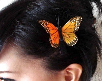 butterfly hair clip - monarch butterfly hair clip - bohemian hair accessory - orange butterfly clip - hair accessories for women - MARGARET