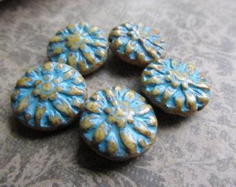 14mm Beige Turquoise Dahlia Czech Glass Beads, 14mm Dahlia, Czech Glass Flowers, Czech Glass Dahlia, Dahlia, 14mmDAH-BEIGETURQ
