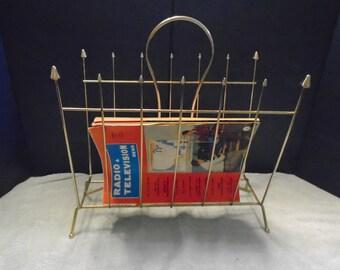 Vintage brass magazine rack. magazine rack. Magazine holder. Mid century magazine rack. Mid century decor. Brass decor. decor.