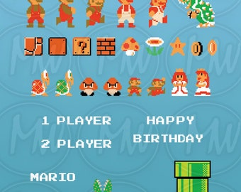 Super Mario Bros, Clipart, Mario, Pixels, 8-bit, Vector, Classic, Game, Art, Digital, Stamp, Scrapbook, Instant Download, Clip art, #081