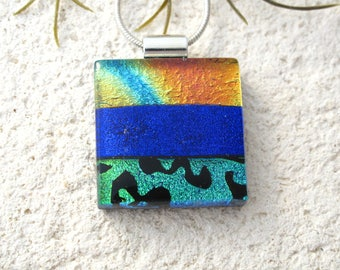 Modern Blue Rainbow Necklace, Dichroic Necklace, Fused Glass Jewelry, Dichroic Jewelry, Contemporary Jewelry, ccvalenzo,OOAK, 081617p102
