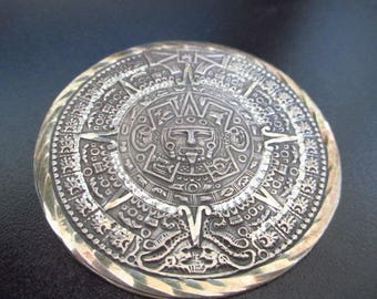 Vintage Sterling Silver Gold Vermeil Mayan Sun God Brooch Pin Pendant 18.8gms