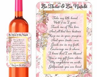 Custom Godparents Wine Labels Personalized With Poem With Pink and Gold Watercolor Floral Sticker Design