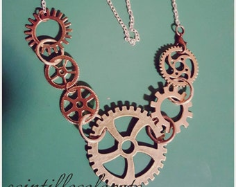 Steampunk necklace with gears
