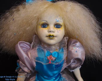 Altered Art Doll - Alice Through The Broken Glass Doll by Ugly Shyla - Ugly Art Dolls - 17 inches tall  - repaint - repainted - OOAK