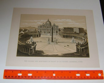 ST. PETER'S CATHEDRAL Beautiful Antiquities Print ~ Rome and Roman Color 1880s Chromolithograph Vintage Antique Art Print [InvRoL#14