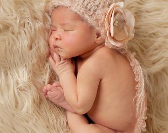 Mohair Newborn Hat, Baby Girl Bonnet, Vintage Hat, Knit baby hat, Flower Hat, Photo prop, Photography Hat