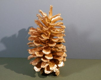 """7 1/2"""" Natural Long Leaf Pinecone Handpainted Metallic Gold Eco Craft Supply Ornamental Winter Holiday Wedding Decorative Home Display # 2"""