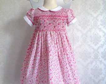 Pink Liberty Smock point dress with white collar