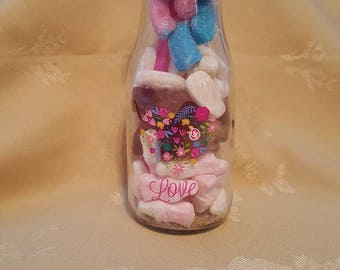 Sweet bottle filled with bottles. Made freshly to order