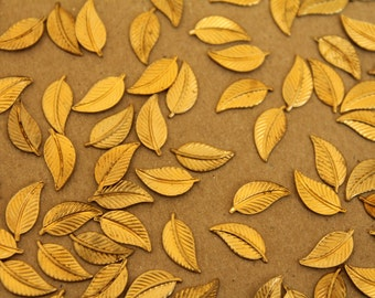 14 pc. Tiny Raw Brass Veined Leaves: 11mm by 5mm - made in USA | RB-226