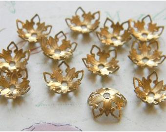 Raw Brass Bead Caps, Floral Bead Caps, Brass Filigree,  8mm - 12 pcs. (r174)