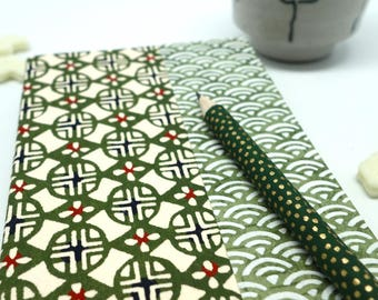 Notebook or soft notebook paper Japanese katazome, green and white pattern, notebook, diary